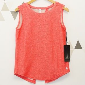 Neon Coral Flutter Back French Terry Style Tank
